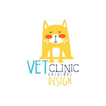 Vet clinic template original design, colorful badge with funny cat hand drawn vector Illustration