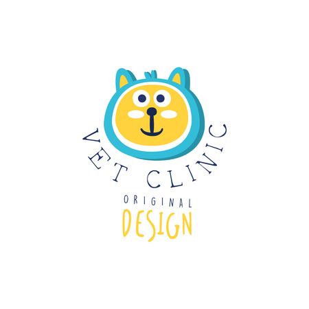 Vet clinic logo template original design, colorful badge with cat hand drawn vector Illustration