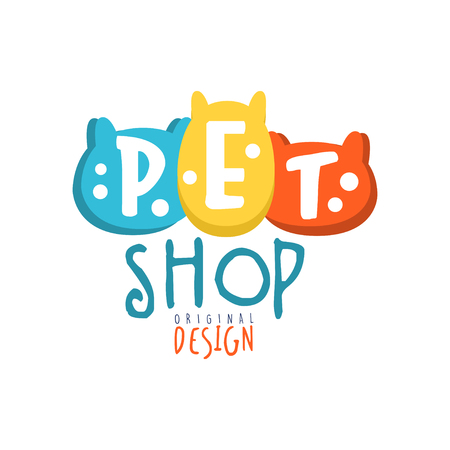 Pet shop logo template original design colorful hand drawn vector Illustration Ilustração
