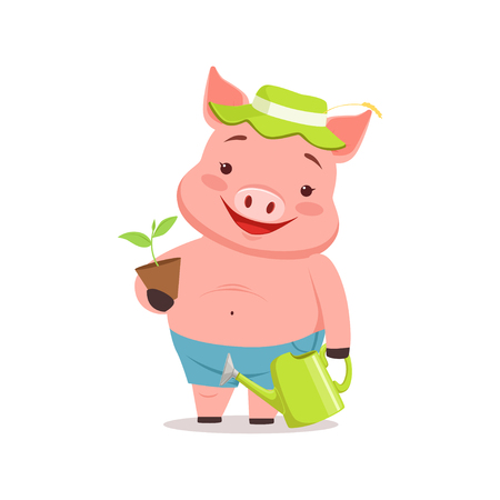 Cute pig gardener standing with watering can and flower pot, funny cartoon animal vector Illustration