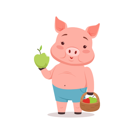 Cute Pig Holding Basket With Apples Funny Cartoon Animal Vector Illustration
