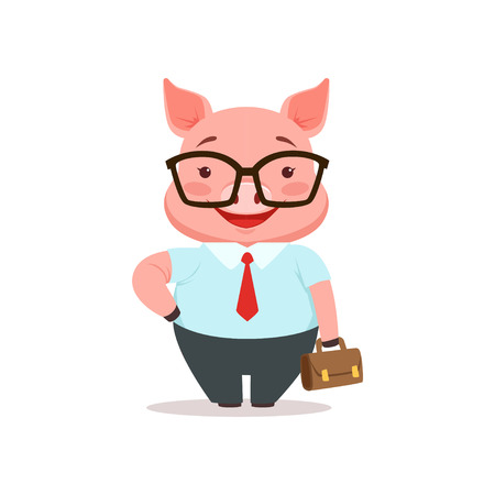 Cute smiling pig businessman, funny cartoon animal dressed in human clothes vector Illustration