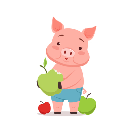 Cute pig with apples, funny cartoon animal vector Illustration Çizim