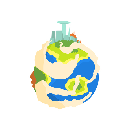 Earth planet with mountain and skyscrapers cartoon vector Illustration Imagens - 87567514