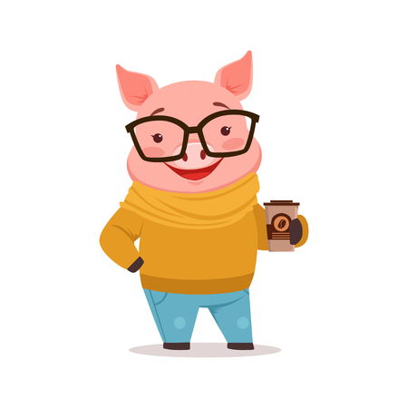 Cute happy pig dressed up in sweater and jeans standing with coffee cup, funny cartoon animal dressed in human clothes vector Illustration Ilustração