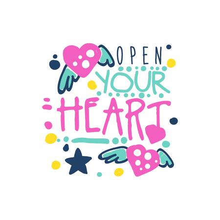 あなたの心の肯定的なスローガンを開いて、手書きのレタリング動機引用カラフルなベクトル図