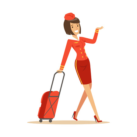 Pretty smiling stewardess carrying her luggage