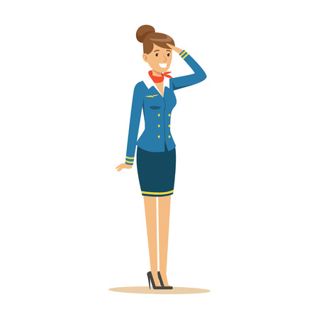 Young smiling stewardess in blue uniform Illustration