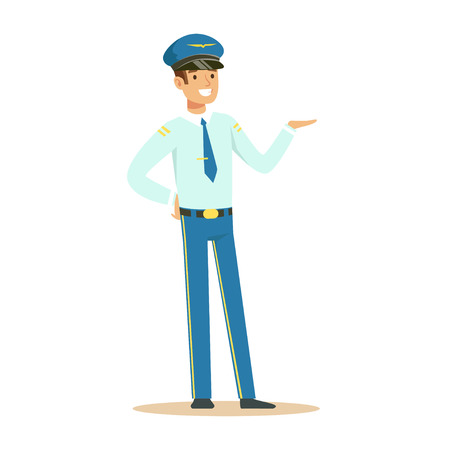 Captain of airplane stands on isolated white background