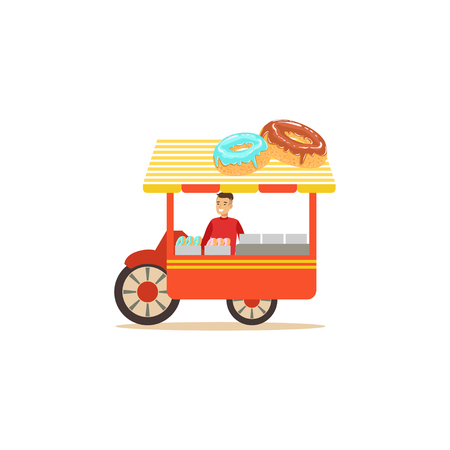 Flat street food cart with donuts Vectores
