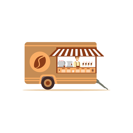 Flat street food cart with coffee Illustration