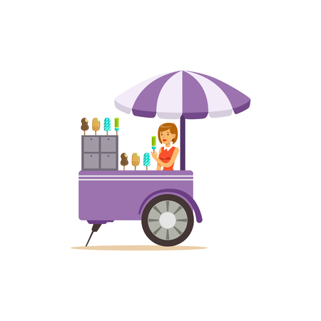 Flat street food cart with ice cream Illustration
