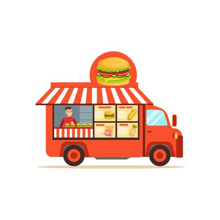 Flat street food van with junk food Illustration