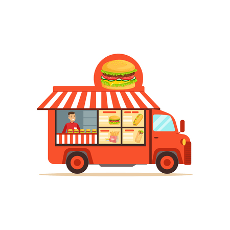Flat street food van with junk food Ilustrace