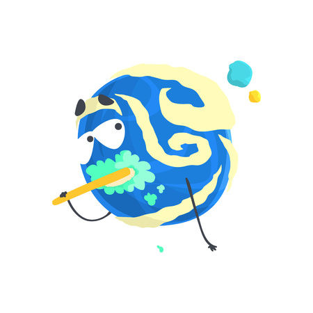 Cute humanized blue planet character brushing its teeth, sphere with funny face cartoon vector Illustration