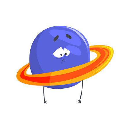 Schattig gehumaniseerd Uranus planeet karakter, bol met grappige gezicht cartoon vector illustratie