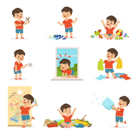 Funny little boy playing games and making mess 向量圖像