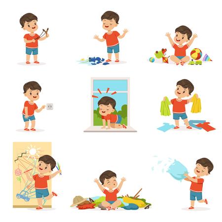 Grappige kleine jongen spelen en maken puinhoop Vector Illustratie