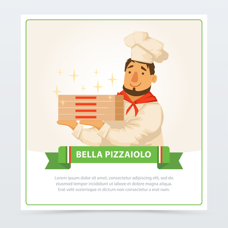 Cartoon character of italian pizzaiolo holding pizza boxes