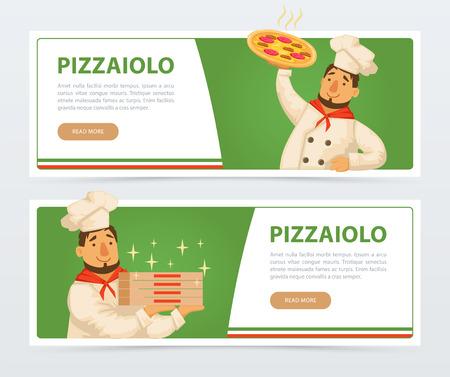 Modello di banner pizzeria con chef italiano Vettoriali