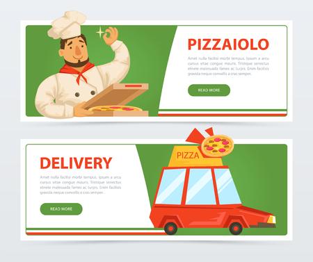Banner con pizzaiolo italiano e servizio di consegna auto