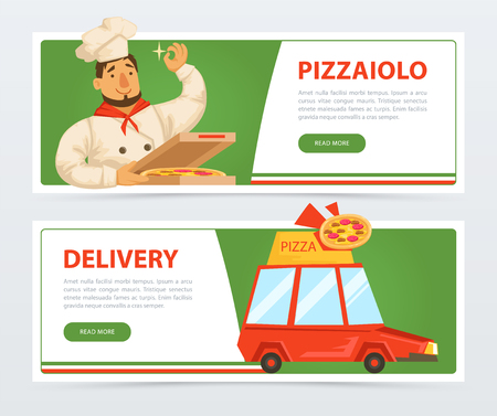 Banner with italian pizzaiolo and delivery service car