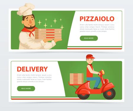 Banner con pizzaiolo italiano e corriere di consegna