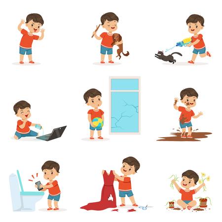 Grappige kleine jongen spelen en maken puinhoop