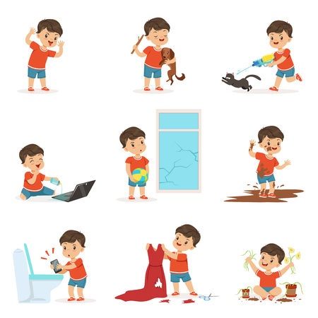 Funny little kid playing games and making mess