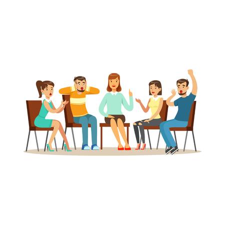 Ondersteuning groepstherapie, psycholoog counseling mensen met verschillende fobieën vector illustratie