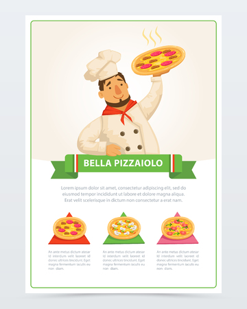 Cartoon character of italian pizzaiolo holding hot pizza