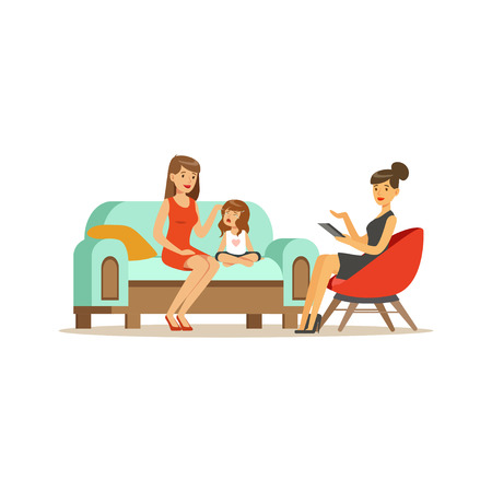 Family psychologist counseling woman and crying girl, psychologist having session with patients vector Illustration