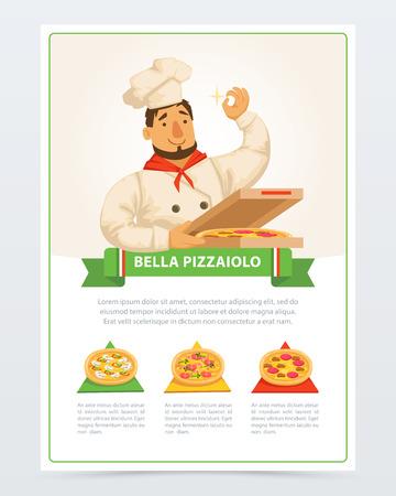 Personaggio dei cartoni animati di pizzaiolo italiano che tiene pizza in scatola