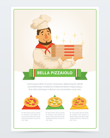 Personaggio dei cartoni animati di pizzaiolo italiano in possesso di scatole per pizza
