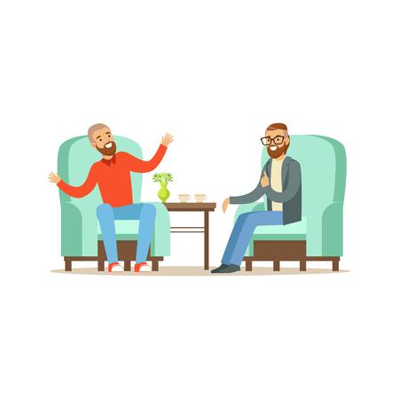 Glimlachend mannelijk geduldig karakter die aan psycholoog over problemen, psychotherapie het adviseren spreken, psycholoog die zitting met geduldige vectorillustratie hebben Stock Illustratie