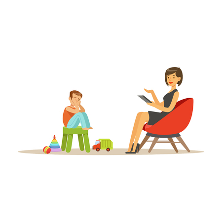 Depressed boy talking to child psychologist about problems, psychotherapy counseling, psychologist having session with patient vector Illustration Vectores