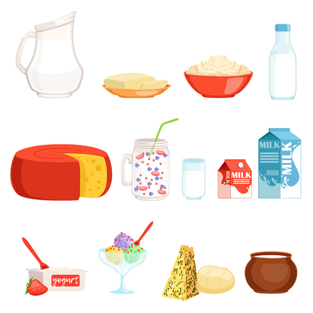 Dairy products set, milk, butter, cheese, yogurt, sour cream, ice cream vector Illustrations Ilustração