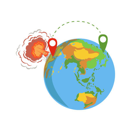 Globe with pins, migrant route from Syria vector Illustration
