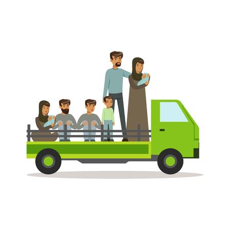 Staatloze vluchtelingen op een vrachtwagen die landgrens, onwettige migratie, het concept vectorillustratie van oorlogsslachtoffers proberen te overkomen Stock Illustratie