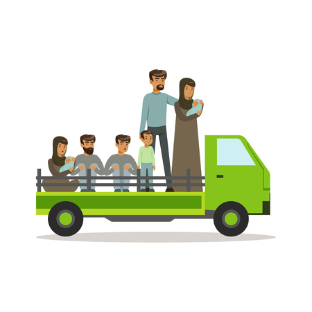 Stateless refugees on a truck trying to cross country border, illegal migration, war victims concept vector Illustration