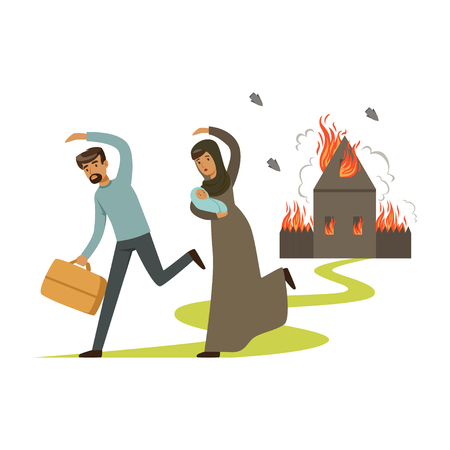 Stateless refugee family escaping from war vector Illustration Illustration