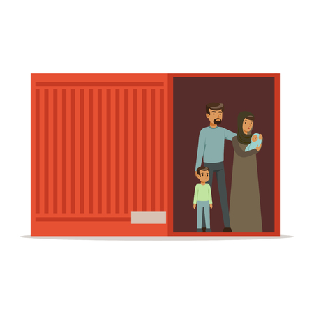 Stateless refugee family standing in cargo container, illegal migration, war victims concept vector Illustration