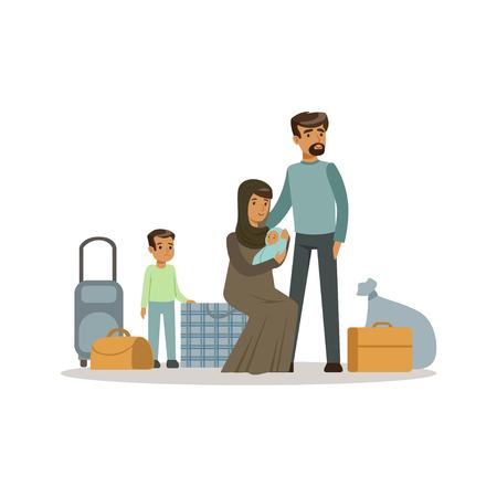 Staatloze vluchtelingsfamilie met koffers, de vectorillustratie van het oorlogsslachtoffersconcept