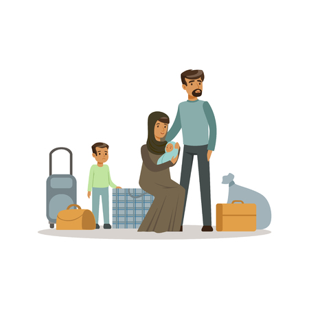 Stateless refugee family with suitcases, war victims concept vector Illustration
