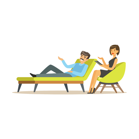 Male patient character talking to female psychologist about problems, psychotherapy counseling, psychologist having session with patient vector Illustration