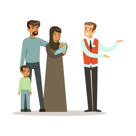 Stateless refugee family talking with volunteer doing a welcome gesture, war victims concept vector Illustration Ilustracja
