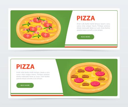 Modello di banner di pizza con ingredienti diversi Archivio Fotografico - 87668940