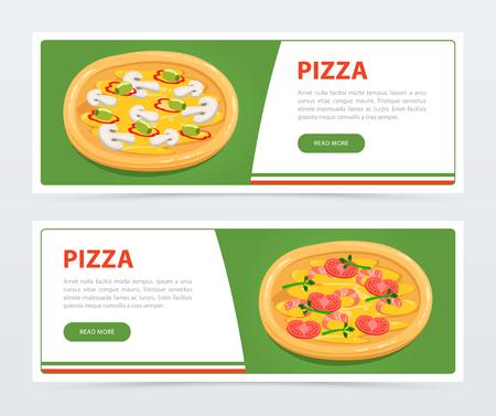 さまざまな成分とピザ バナー テンプレート