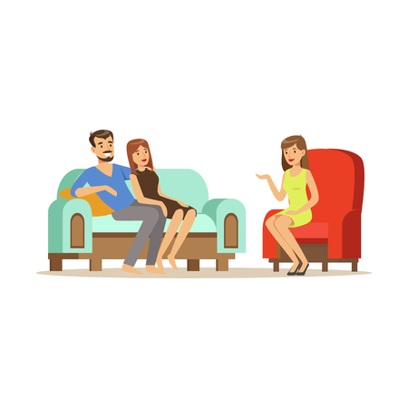Happy family couple characters talking to female psychologist about their problems, psychotherapy counseling, psychologist having session with patient vector Illustration Vettoriali
