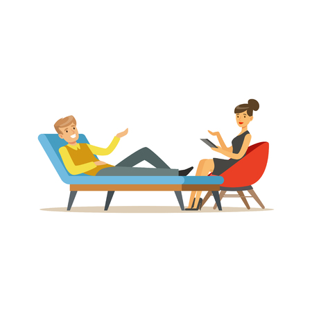 Smiling male patient character talking to female psychologist about problems, psychotherapy counseling, psychologist having session with patient vector Illustration Illustration